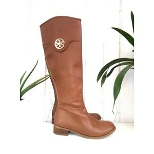 Tory Burch leather riding boots.